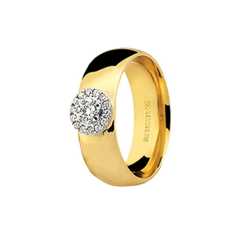 Aliança de Ouro Amarelo 18K Larga com Chuveiro de Diamantes