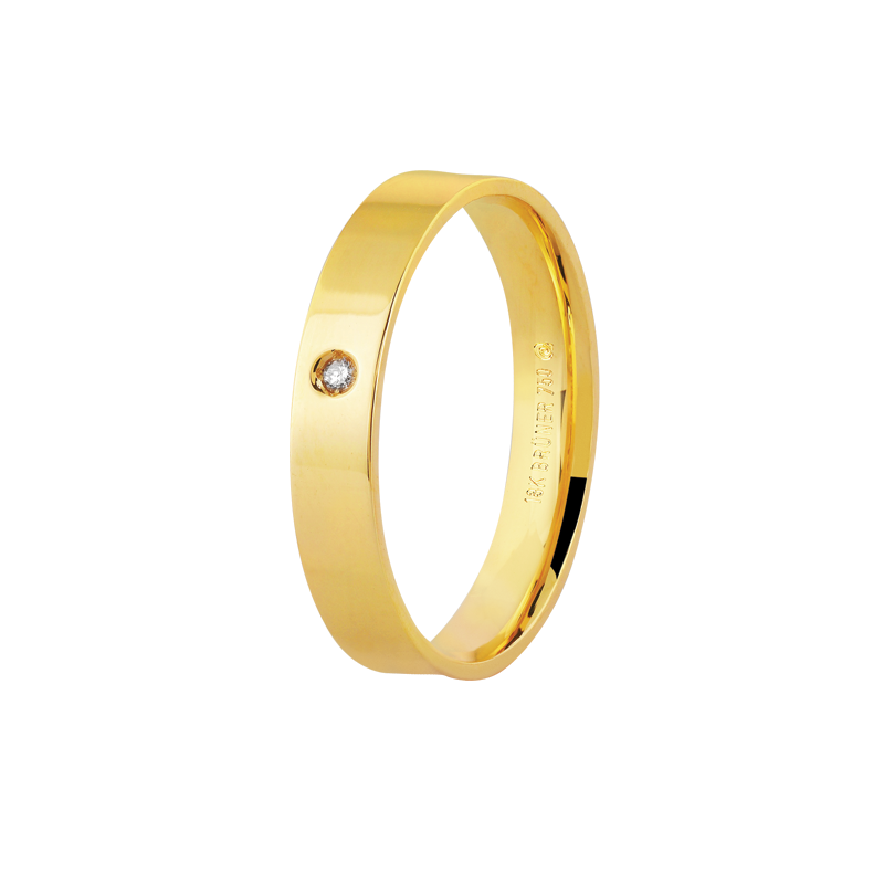 Aliança de Ouro Amarelo 18K Lisa e Plana com Ponto de Diamante