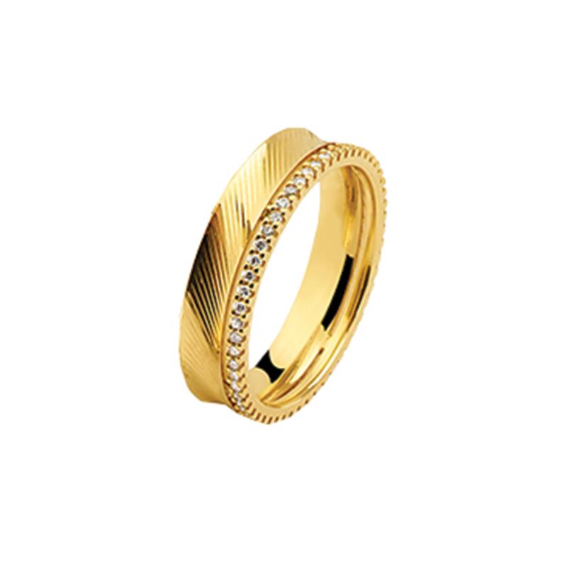 Aliança Ouro Amarelo 18K Côncava com Diamantes