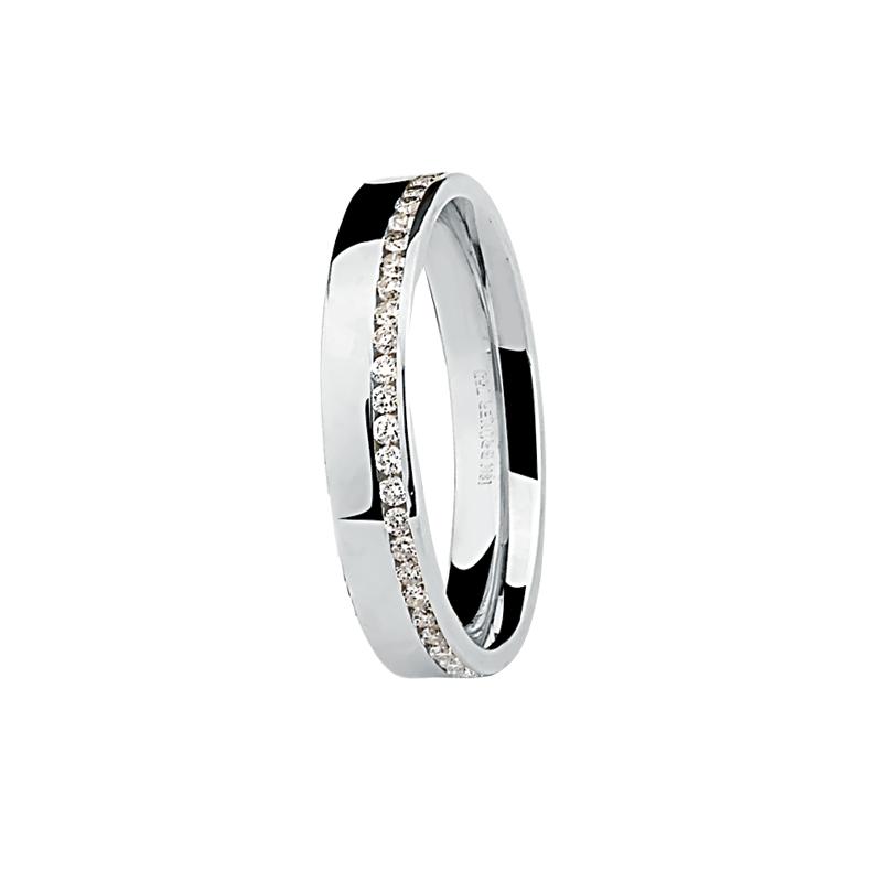 Aliança Ouro Branco 18K Plana com Friso e Diamantes