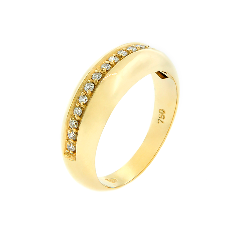 Anel de Ouro Amarelo 18K com apara de diamantes