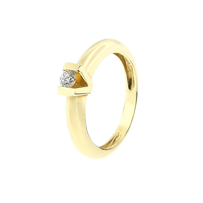 Anel de Ouro Amarelo 18k com Diamante