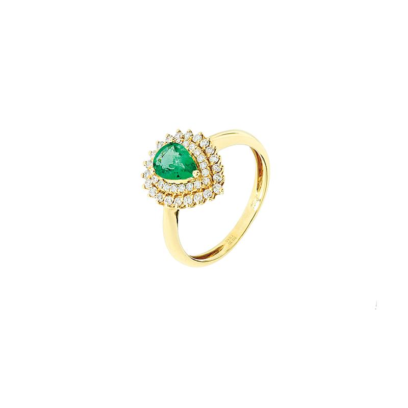 Anel de Ouro Amarelo 18k com Diamante e Esmeralda