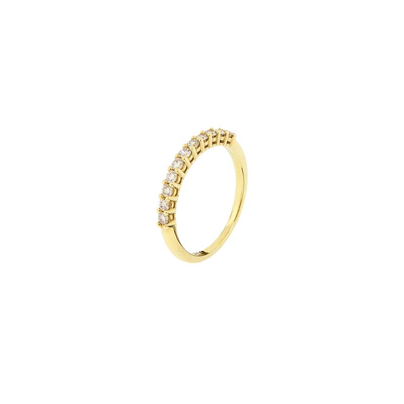 Anel de Ouro Amarelo 18k com Diamante Meia Aliança