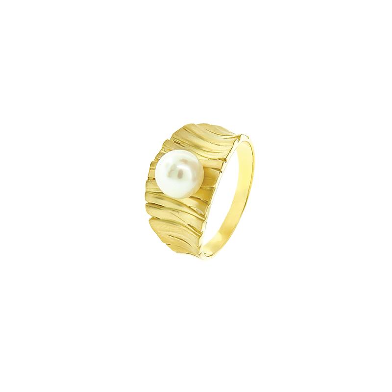 Anel de Ouro Amarelo 18k com Perola