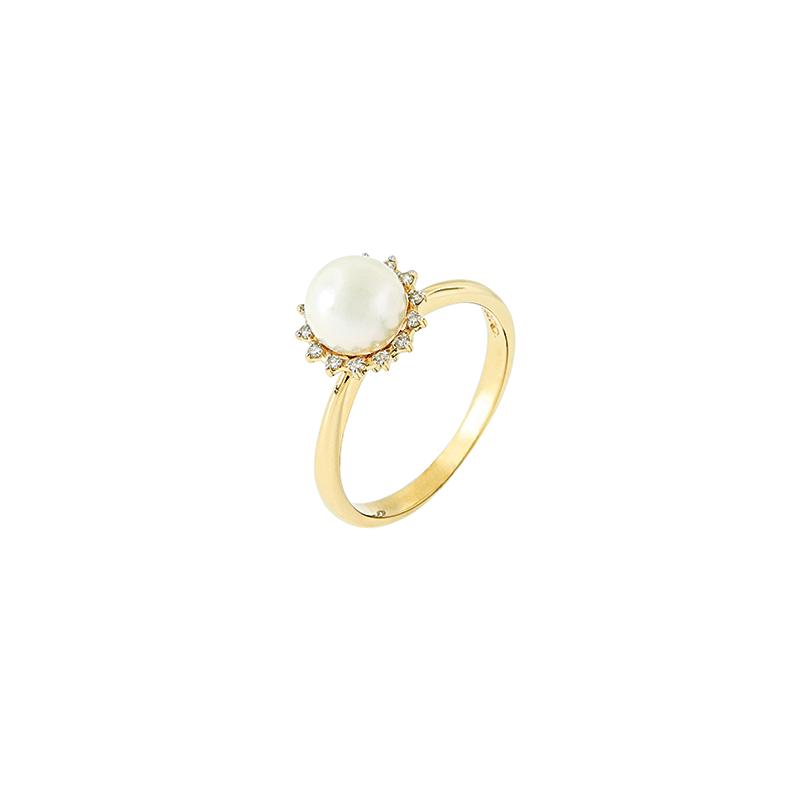 Anel de Ouro Amarelo 18k com Perola e Diamantes