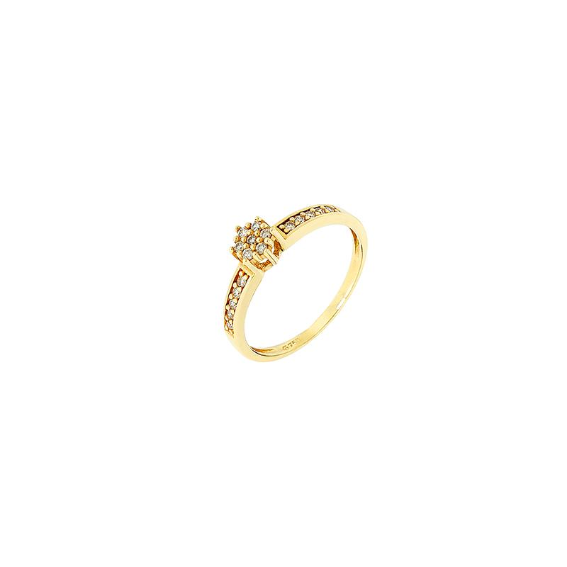 Anel de Ouro Amarelo 18k com roseta de diamantes