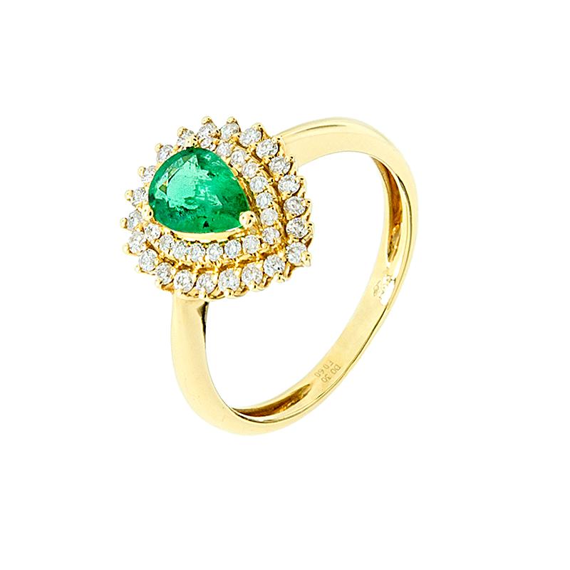Anel de Ouro Amarelo 18k Coroa com Diamante e Esmeralda