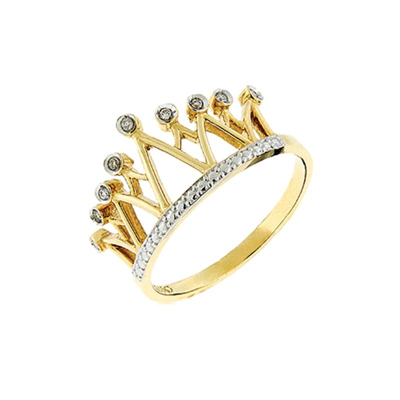 Anel de Ouro Amarelo 18K Coroa com Diamantes
