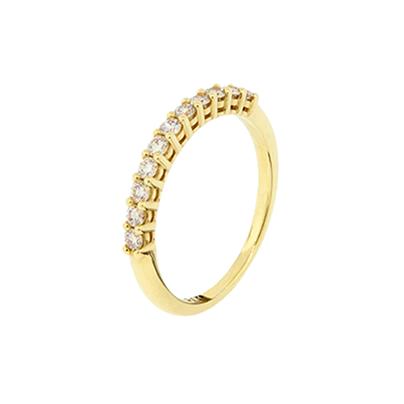 Anel de Ouro Amarelo 18k Meia aliança com diamantes