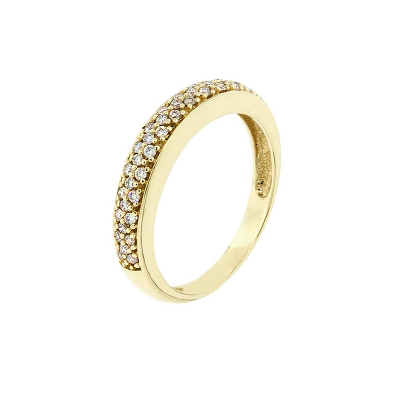 Anel de ouro amarelo 18k Pavê de diamantes