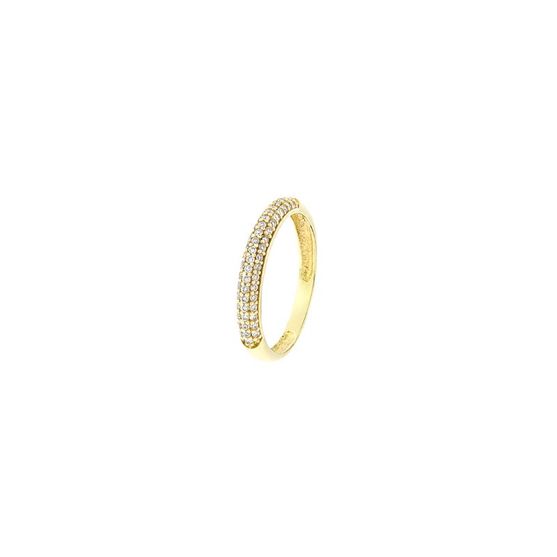 Anel de Ouro Amarelo 18K Pave de diamantes