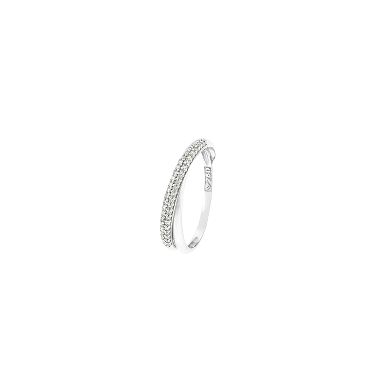 Anel de ouro branco 18k Cartier pavê de diamantes