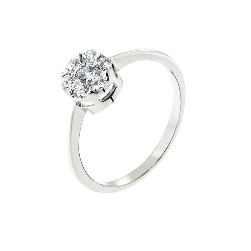 Anel de Ouro Branco 18k com Roseta de Diamantes