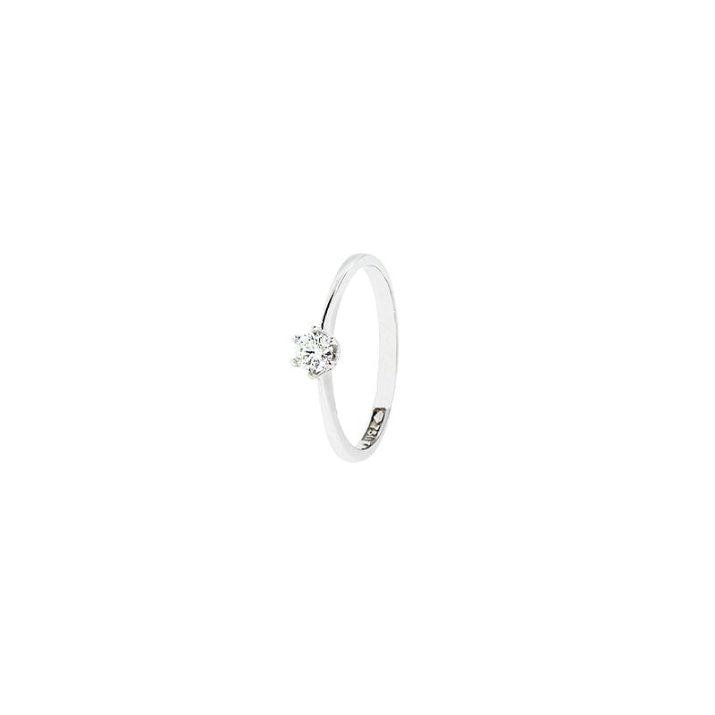 Anel de Ouro Branco 18k Solitário com Diamante