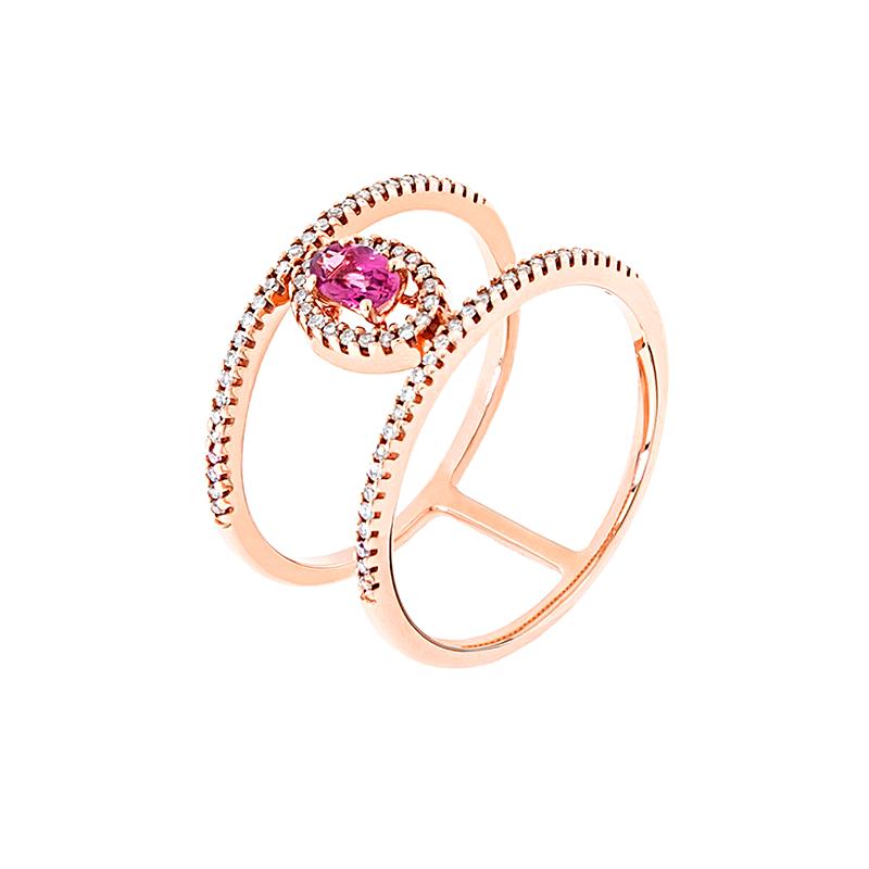 Anel de Ouro Rose 18k com Diamante e Turmalina Rosa