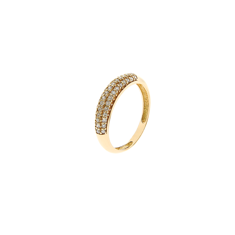 Anel de Ouro Rose 18k com Pavê de Diamantes