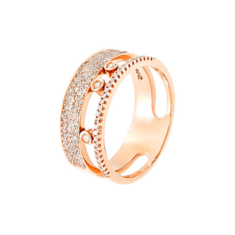 Anel de Ouro Rose 18k Duplo com Diamantes