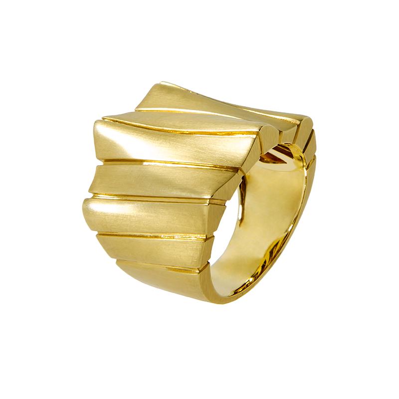 Anel Ouro Amarelo 18K Ondas Fosco e Polido