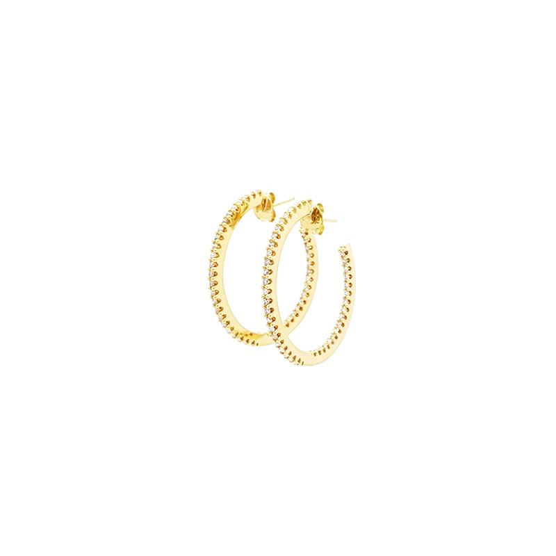 Brinco de Ouro Amarelo 18K Argola com Diamantes