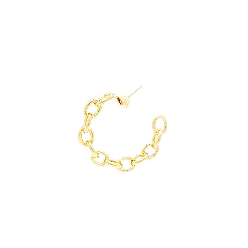 Brinco de Ouro Amarelo 18k Argola Corrente