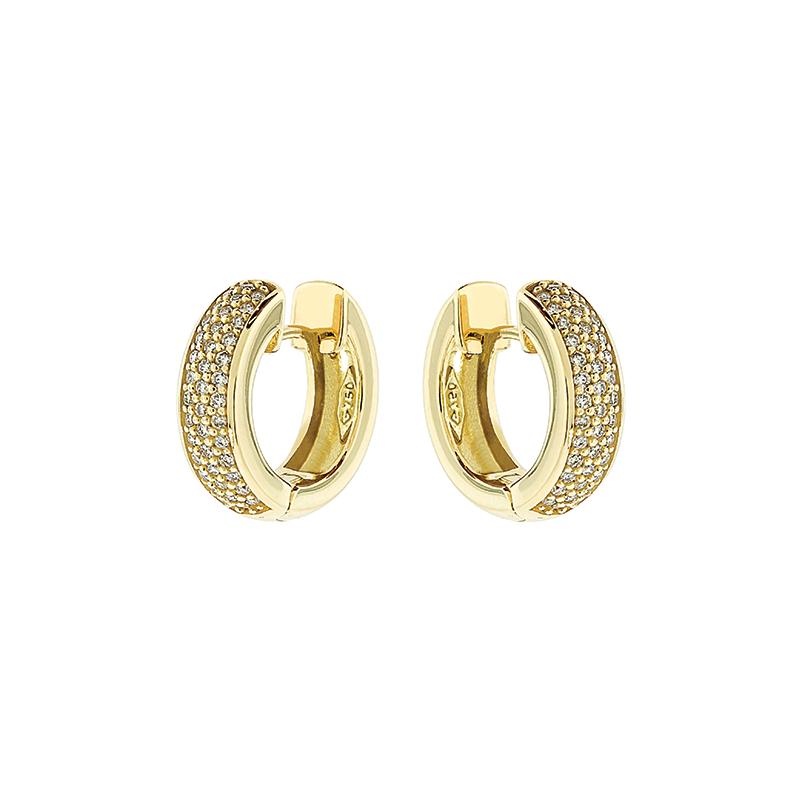 Brinco de Ouro Amarelo 18K Argola de Pave de Diamantes