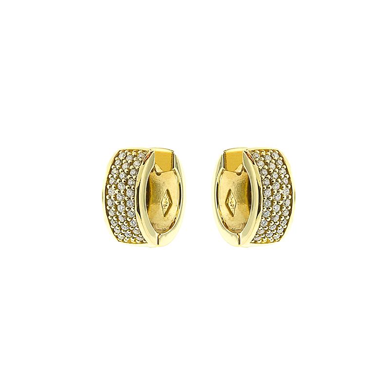 Brinco de Ouro Amarelo 18K Argola Pave de Diamantes