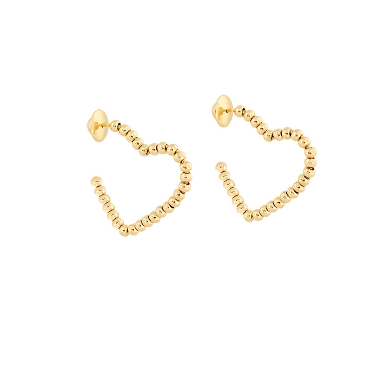Brinco de Ouro Amarelo 18K Argolas Coração com Bolinhas