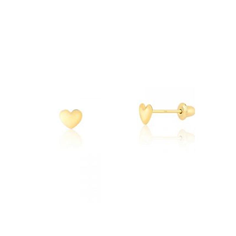 Brinco de Ouro Amarelo 18K Infantil de Coração