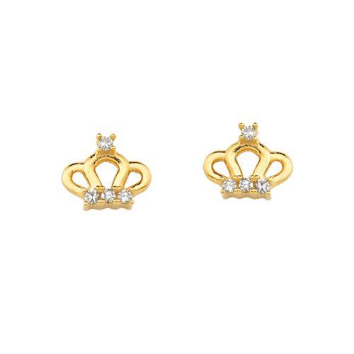 Brinco de Ouro Amarelo 18K Infantil de Coroa com Diamantes