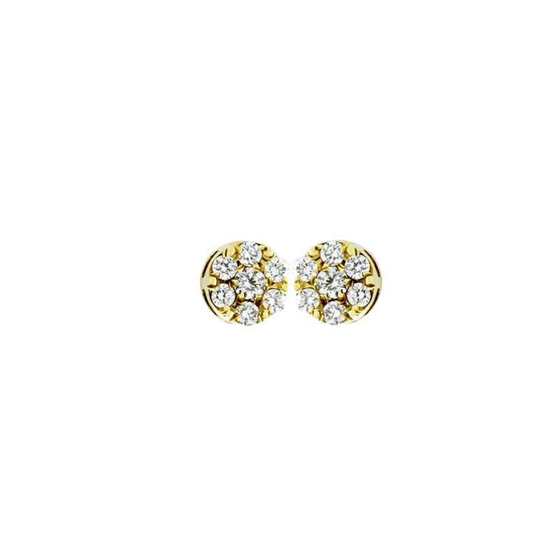 Brinco de Ouro Amarelo 18K Roseta de Diamantes