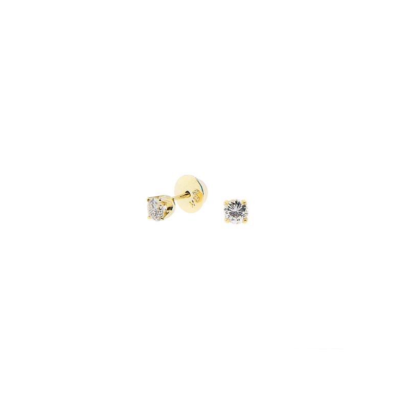 Brinco de Ouro Amarelo 18k Solitário com Diamante