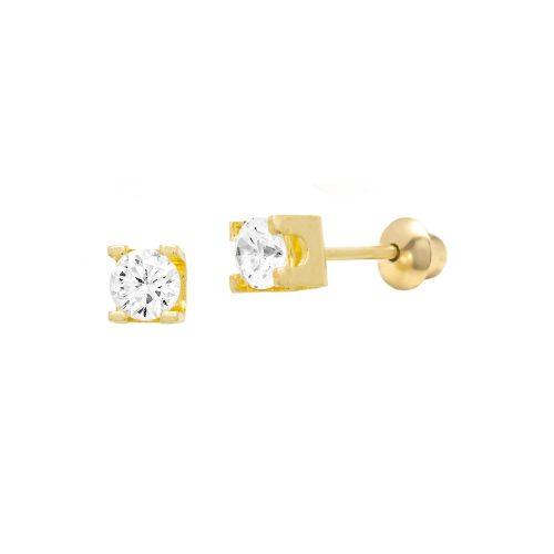 Brinco de Ouro Amarelo 18K Solitário de Diamante