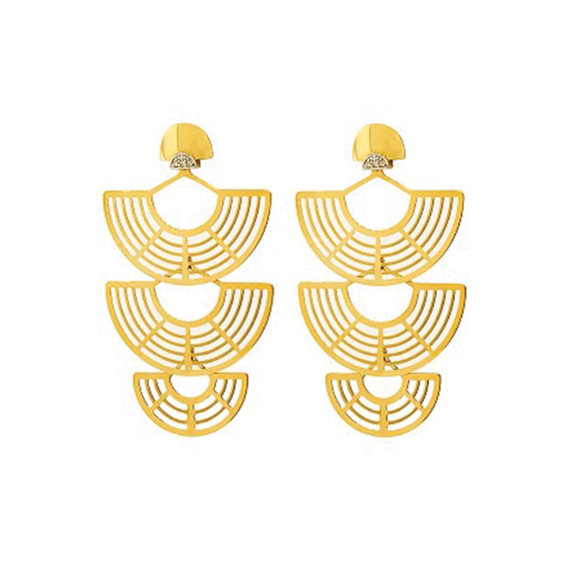 Brinco de Ouro Amarelo 18k Vazado com Diamante
