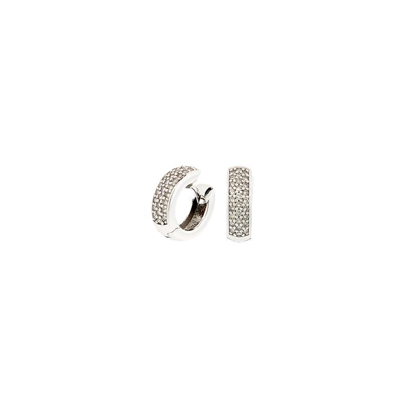 Brinco de Ouro Branco 18K Argola Pave de diamantes