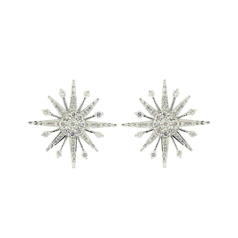 Brinco de Ouro Branco 18K Estrela com Pave de Diamantes