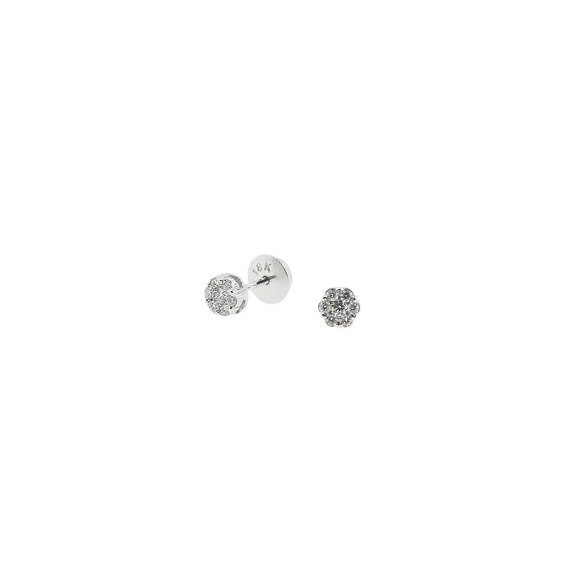 Brinco de Ouro Branco 18k Roseta com Diamante