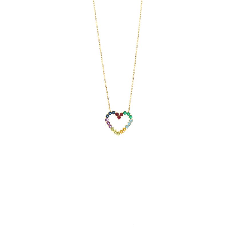 Gargantilha de Ouro Amarelo 18K com Coração de Pedras Brasileiras