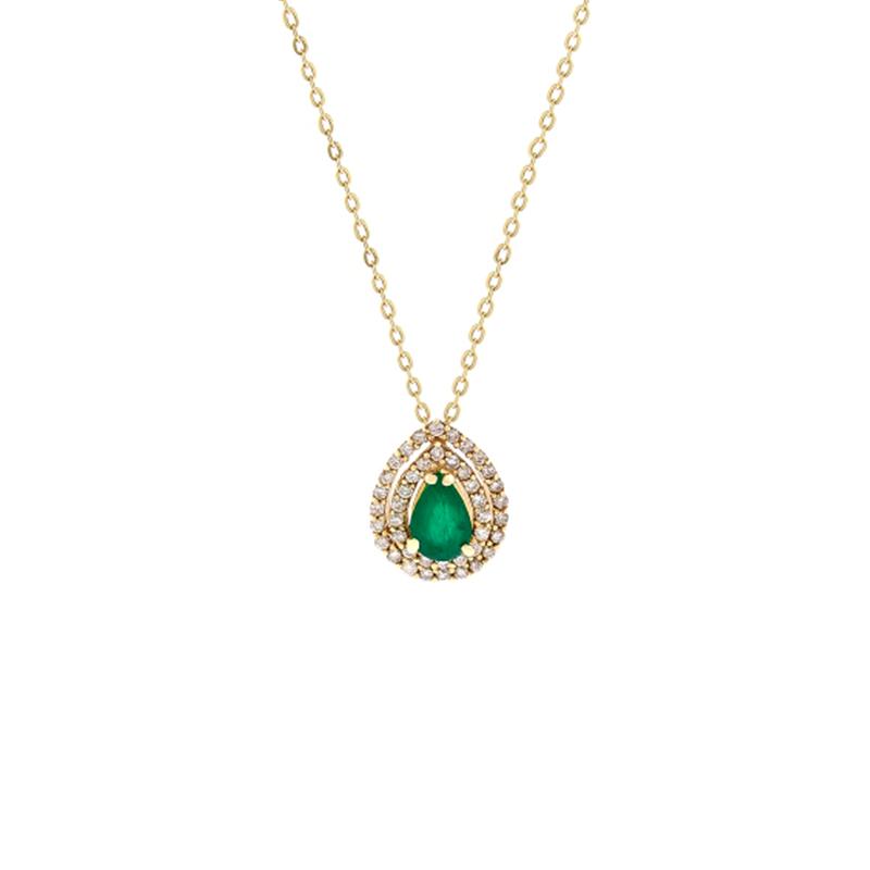Gargantilha de Ouro Amarelo 18k com Esmeralda e Diamante