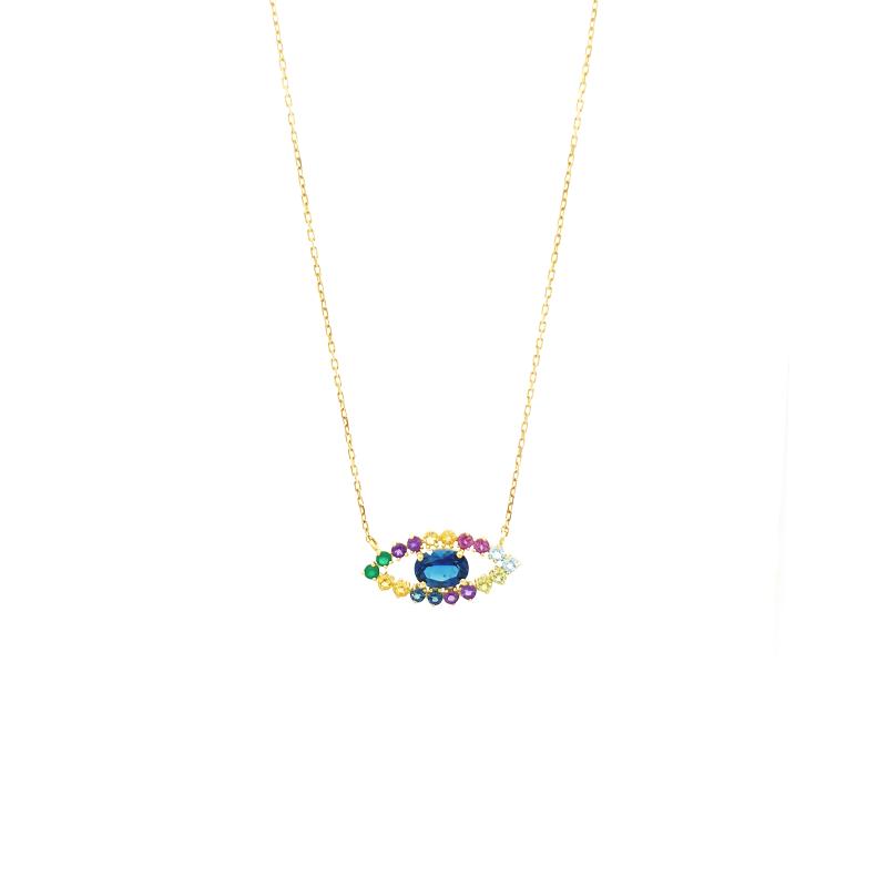 Gargantilha de Ouro Amarelo 18K com Olho Grego de Pedras Brasileiras
