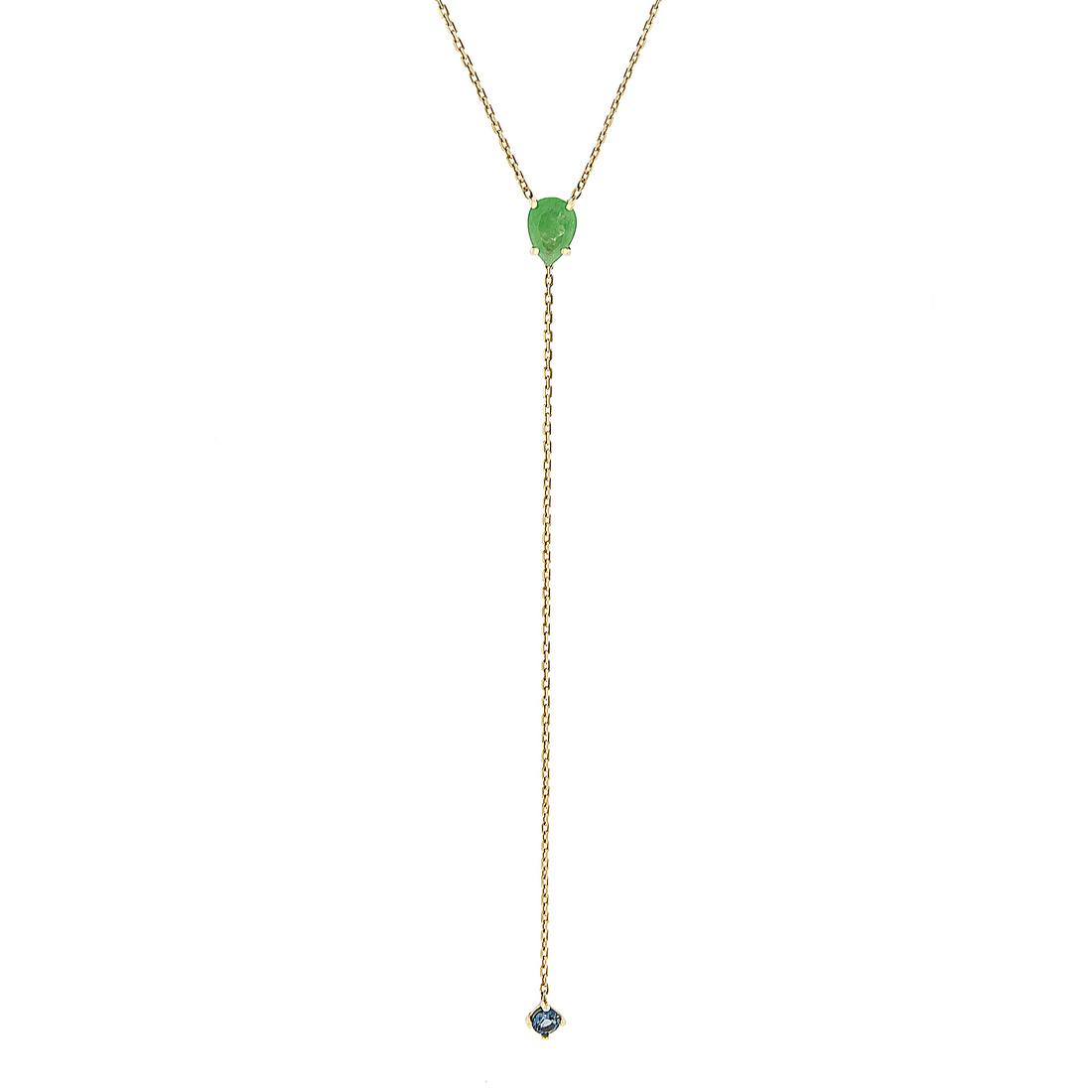 Gargantilha de Ouro Amarelo 18K Gravata com Pedras Nefrita e Topázio Azul