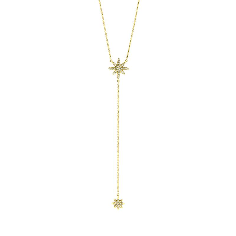 Gargantilha de Ouro Amarelo 18K Gravata com Pingente de Estrelas