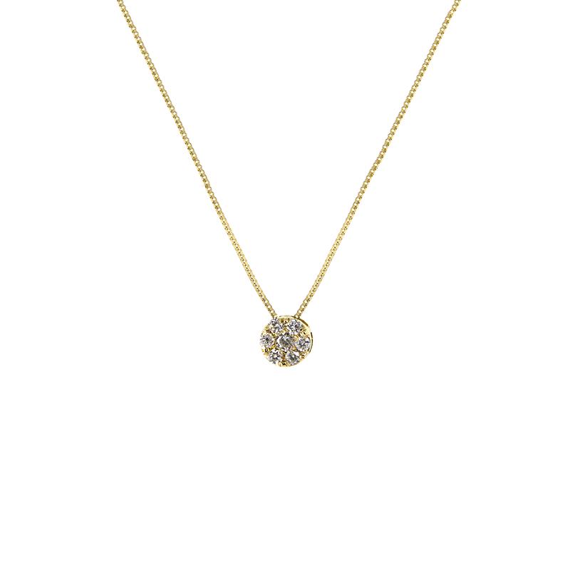 Gargantilha de Ouro Amarelo 18K Roseta de Diamantes