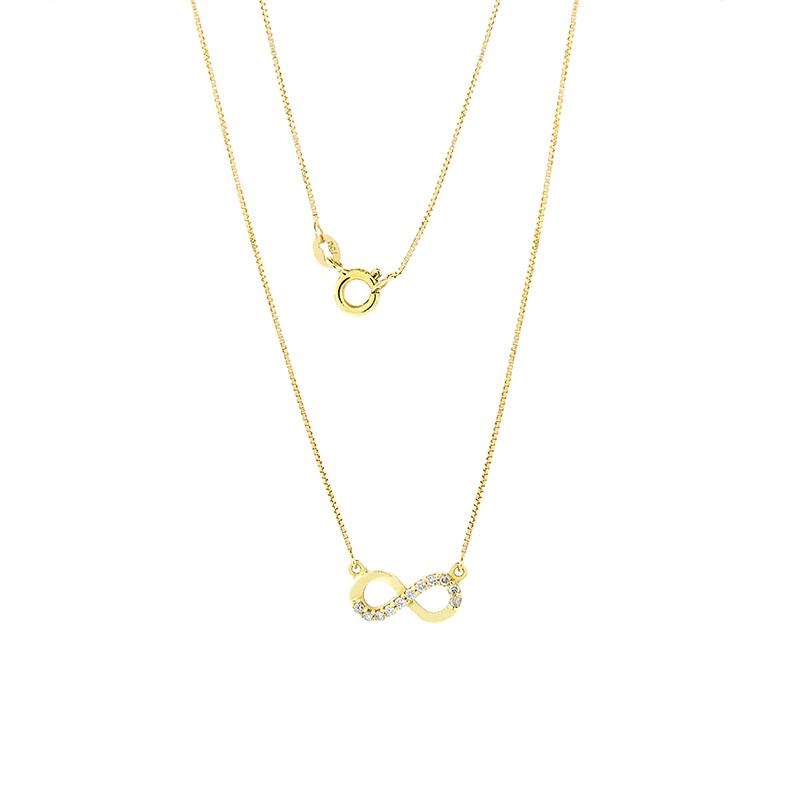 Gargantilha de Ouro Amarelo 18k Veneziana com Infinito e Diamantes