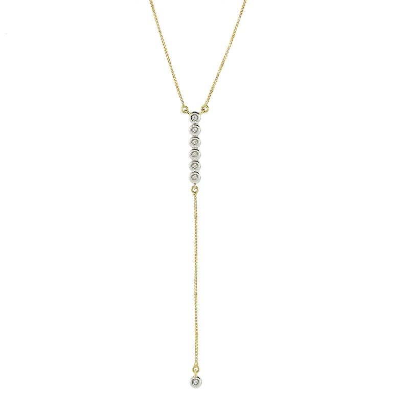 Gargantilha de Ouro Amarelo 18K Veneziana com Pendente de Diamantes