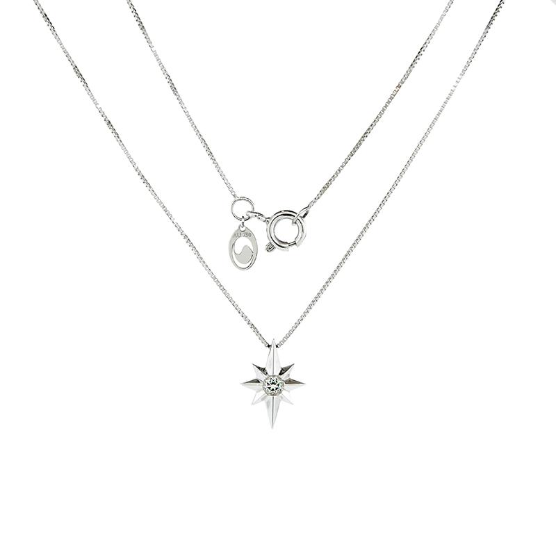 Gargantilha de Ouro Branco 18k com Estrela de Topázio Branco