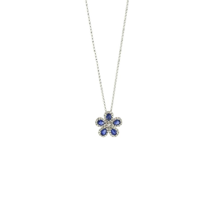 Gargantilha de Ouro Branco 18k com flor de Diamante e Safira