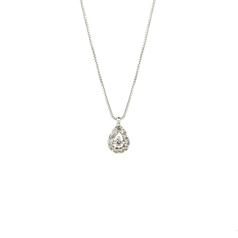 Gargantilha de Ouro Branco 18k Pingente Gota com Diamantes