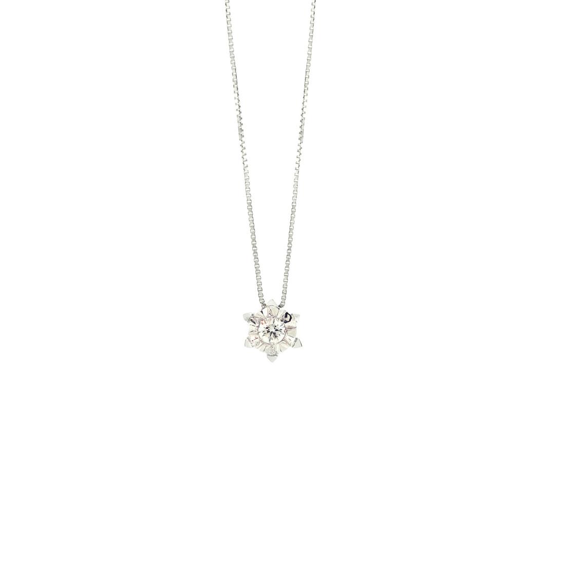 Gargantilha de Ouro Branco 18K Ponto de Luz de Diamante