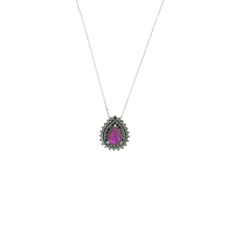 Gargantilha de Ouro Branco 18k Gota com Rubi e Diamante Negro